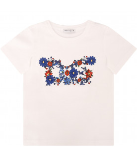 DOLCE & GABBANA KIDS White girl T-shirt with colorful flowers