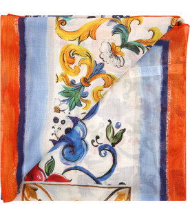 "DOLCE & GABBANA KIDS ""White scarf with colorful maioliche"