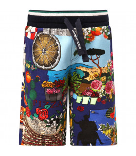"DOLCE & GABBANA KIDS ""Blue boy short with colorful print"