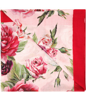 """DOLCE & GABBANA KIDS """"Pink scarf with roses"""