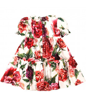 """DOLCE & GABBANA KIDS """"White girl dress with colorful roses"""