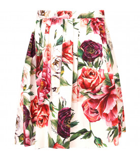 DOLCE & GABBANA KIDS White girl skirt with colorful roses