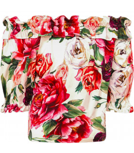 "DOLCE & GABBANA KIDS ""White girl top with colorful roses"