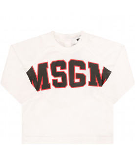 MSGM KIDS White T-shirt with black logo