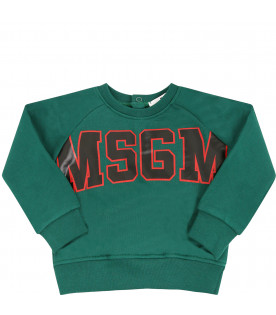 MSGM KIDS Green sweatshirt with black logo