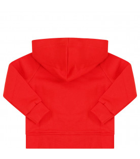 MSGM KIDS Red sweatshirt with black logo