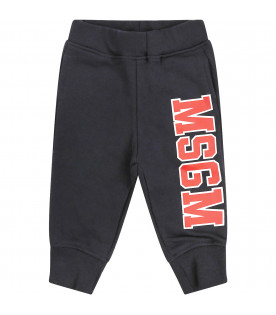 MSGM KIDS Blue sweatpant with red logo