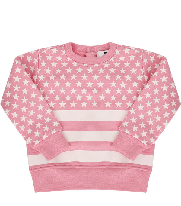 MSGM KIDS Pink sweatshirt with rubberd stars and striped