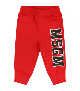 MSGM KIDS Red sweatpant with black logo