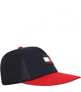 TOMMY  HILFIGER JUNIOR Cappello blu con iconica bandiera