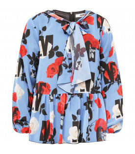MSGM KIDS Light blue girl blouse with colorful flowers