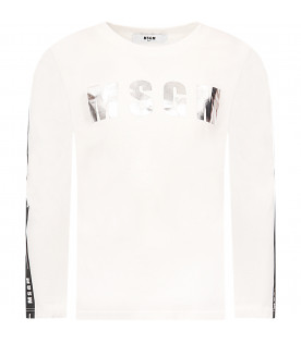 MSGM KIDS White girl T-shirt with silver logo