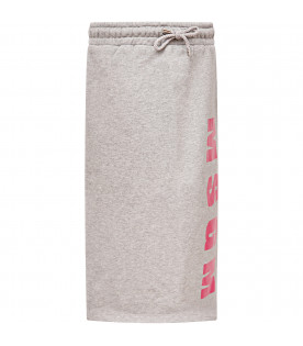 MSGM KIDS Grey girl skirt with pink logo