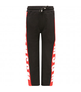 MSGM KIDS Black girl sweatpants with white rubberd logo