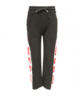 MSGM KIDS Black boy sweatpants with red rubberd logo