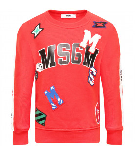 MSGM KIDS Red boy sweatshirt with colorful patch