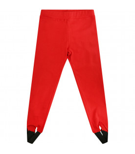 MSGM KIDS Red girl leggings with white logo