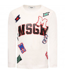 """MSGM KIDS """"White boy T-shirt with colorful patch"""