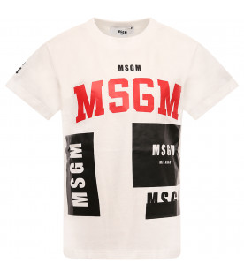 MSGM KIDS White boy T-shirt with red logo