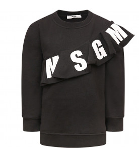 MSGM KIDS Black gil maxi pull with white logo