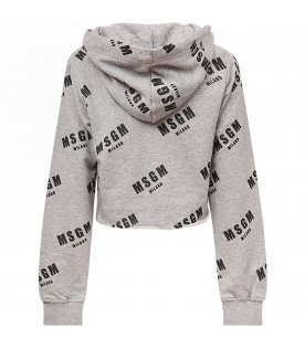 MSGM KIDS Grey girl sweatshirt with black all-over logo