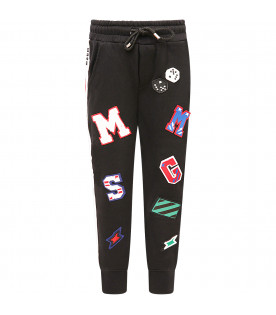 MSGM KIDS Black boy pants with colorful patch