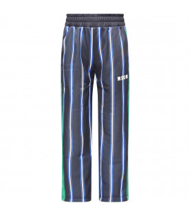 MSGM KIDS Blue, white and light blue striped pants with white logo