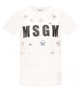MSGM KIDS White girl T-shirt with appliqued flowers