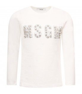 MSGM KIDS White girl T-shirt with logo