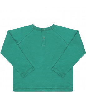 MSGM KIDS Green T-shirt with black logo