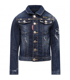 "DSQUARED2 ""Blue denim boy jacket with patch"