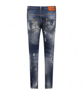DSQUARED2 Blue boy jenas with white spots