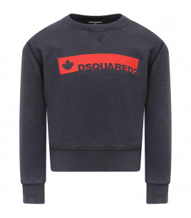 DSQUARED2 Blue boy sweatshirt with red logo