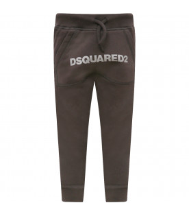 DSQUARED2 Black boy trousers with grey logo