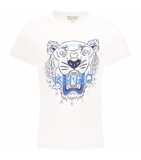 KENZO KIDS White boy T-shirt with colorful tiger