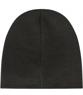 NEIL BARRETT KIDS Black beanie hat with thunder