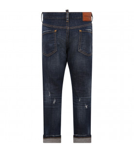 DSQUARED2 Blue boy jeans with patchwork