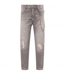 DSQUARED2 Grey boy jeans with wripped holes