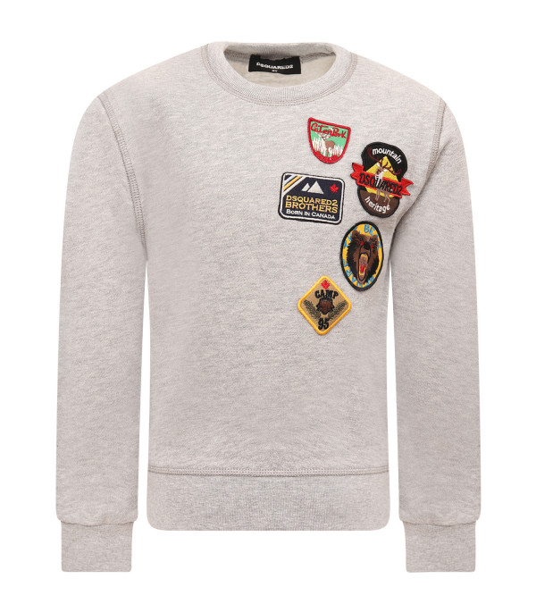 DSQUARED2 Grey boy sweatshirt with patchwork