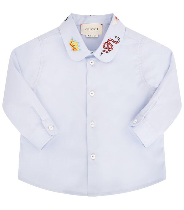 GUCCI KIDS Camicia bambina celeste con patch colorati
