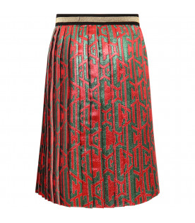 GUCCI KIDS Red girl skirt with green logo