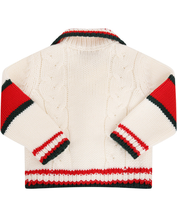 GUCCI KIDS White sweater with Web detail