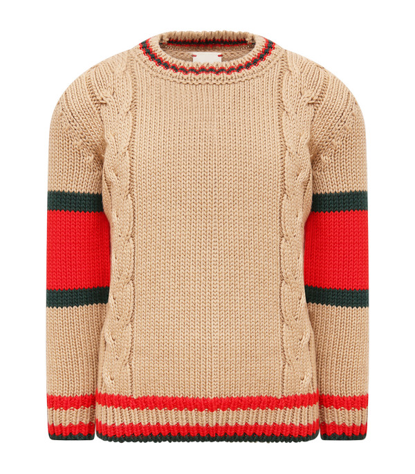 GUCCI KIDS Beige sweater with Web detail