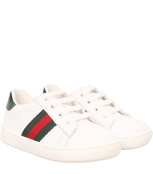 GUCCI KIDS White sneaker with Web detail