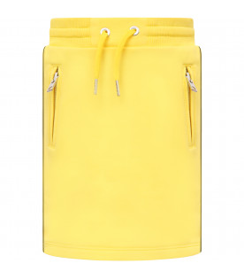 GIVENCHY KIDS Yellow girl skirt with side stripes and logo