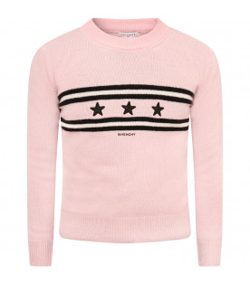 GIVENCHY KIDS Pink girl sweater with stars and logo