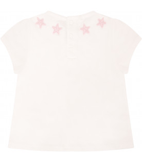 GIVENCHY KIDS T-shirt bianca con stelle rosa