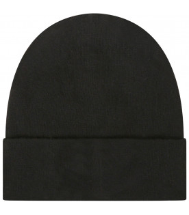 GIVENCHY KIDS Black beanie hat with logo