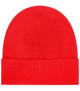 GIVENCHY KIDS Red beanie hat with logo