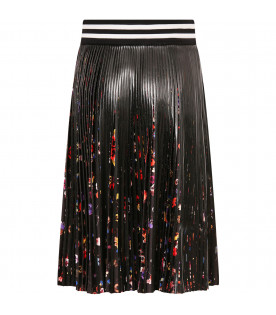 GIVENCHY KIDS Black girl skirt with colorful flowers